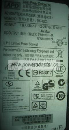 APD DA-45C01 AC Adapter 5VDC 4A 12V 2A 5PIN Power Supply 5-PIN O
