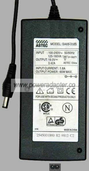ASTEC SA65-3105 AC Adapter 19vDC 3.42A 65W Power Supply