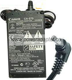 CANON CA-570 AC ADAPTER 8.4VDC 1.5A Charger Power Supply ELURA 8