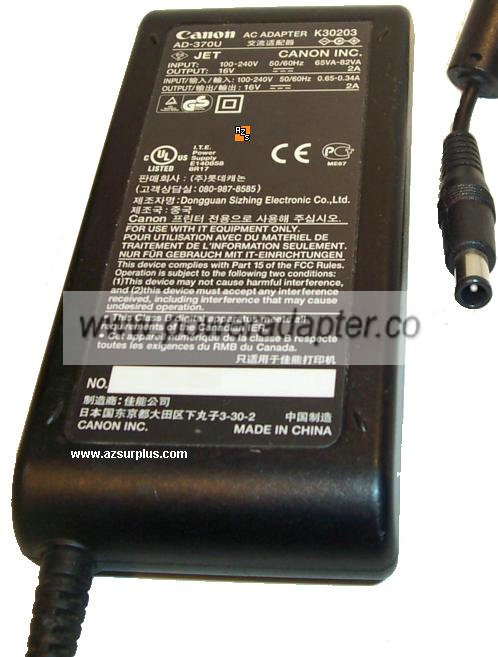 CANON K30203 AC ADAPTER 16VDC 2A AD-370U Printer POWER SUPPLY 84