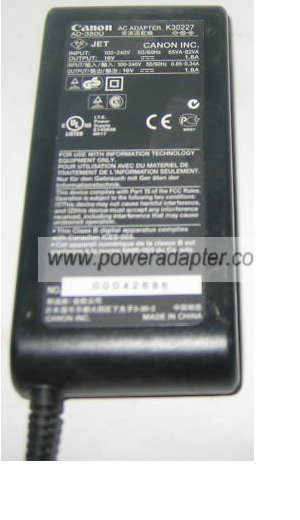 CANON K30227 AC ADAPTER 16V DC 1.8A AD-380U Printer POWER SUPPLY