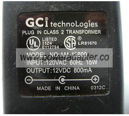 GCI AM-12800 AC ADAPTER 12VDC 800mA 15W LINEAR POWER SUPPLY