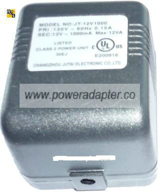 CHANGZHOU JT-12V1000 AC ADAPTER 12VAC 1A Linear POWER SUPPLY PSU