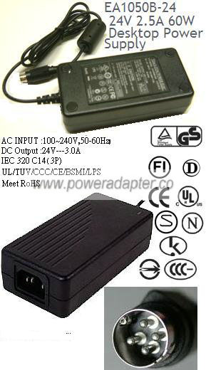 EDAC EA1050B-240 AC ADAPTER 24VDC 2 5A POWER SUPPLY for Printer