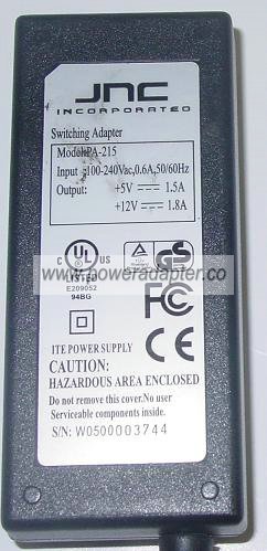 JNC PA-215 AC Adapter 5VDC 1.5A 12V 1.8A 5 PIN Switching POWER
