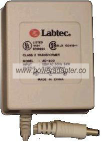 LABTEC AD-800 AC DC ADAPTER 9V 1000mA POWER SUPPLY
