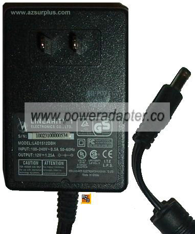 LINEARITY ELECTRONICS LAD1512DBH AC ADAPTER 12Vdc 1.25A POWER SU