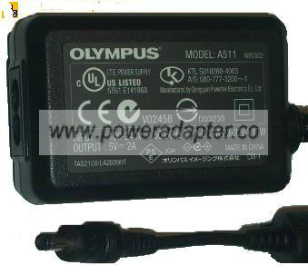 OLYMPUS A511 AC ADAPTER 5VDC 2A POWER SUPPLY FOR IR-300 CAMERA