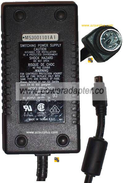 Psm 3021 Ac Adapter 12vdc 1 5a 5v 6 Pin Din Exabyte Tape