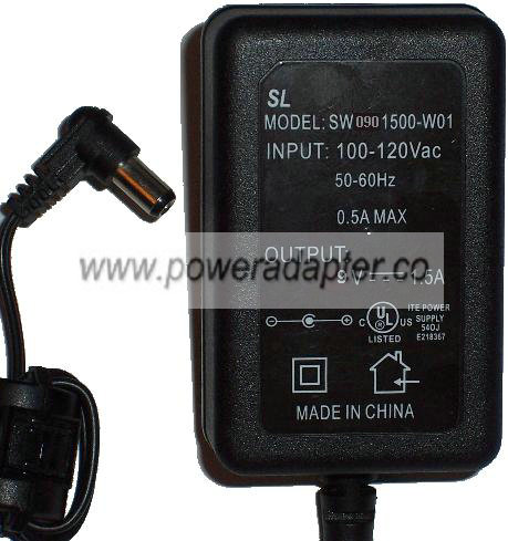 SL SW0901500-W01 AC ADAPTER 9VDC 1 5A POWER SUPPLY [SL