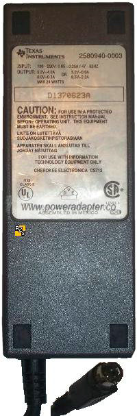 TEXAS INSTRUMENTS 2580940-0003 AC ADAPTER 6.5V 2.2A POWER SUPPLY