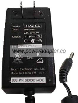 TOUCH SA0612-A AC DC ADAPTER 12V 1.7A Scanner LCD Power Supply