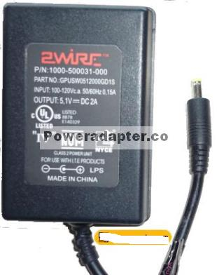 2WIRE GPUSW0512000GD1S AC ADAPTER 5.1VDC 2A 1000-500031-000 Wall