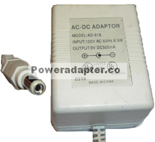 AD-818 AC DC ADAPTER 9VDC 500mA SPEAKERS POWER SUPPLY