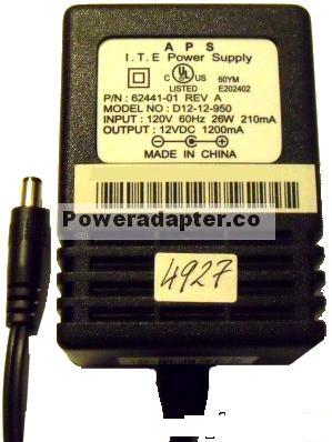 APS D12-12-950 AC ADAPTER 12VDC 1200mA -( )- 2.5x5.5mm ITE POWER
