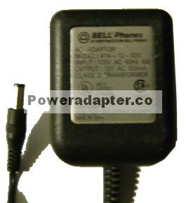 BELL PHONES 41A-12-500 AC ADAPTER 12V 500mA POWER SUPPLY