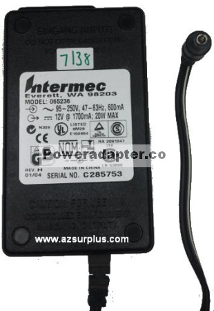 INTERMEC 065236 AC ADAPTER 12VDC 1700mA Used -( )- 2.5x5.5mm 95-