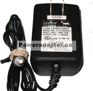 LINKSYS 411210OO3CT AC ADAPTER 12VDC 1A -( ) 2x5.5mm Used 120VAC