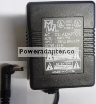 MW MW41-950 AC Adapter 9v 500mA Plug-In Transformer Power Supply