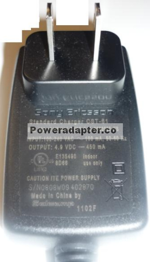 SONY ERICSSON CST-61 Ac ADAPTER 4.9V 450mA STANDARD CHARGER CELL