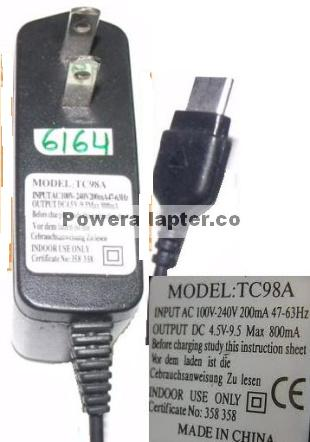 TC98A USB CONNECTOR AC ADAPTER 4.5V DC 800mA CELL PHONE POWER SU