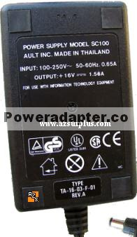 Ault SC100 AC ADAPTER 16vdc 1.56A Power Supply TA-16-03-F-01 100