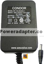 CONDOR SA-054A0U-1 AC ADAPTER 5VDC 2A CLASS 2 POWER SUPPLY