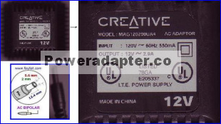 CREATIVE MAG120290UA4 AC ADAPTER 12VAC 2.9A POWER SUPPLY Speaker