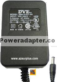 DVE DSA-0101-05 AC ADAPTER 5VDC 4.0A CLASS 2 POWER SUPPLY