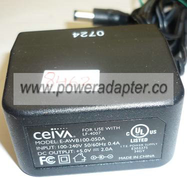 CEIVA E-AWB100-050A AC ADAPTER +5VDC 2A USED -(+) 2x5.5mm DIGITA