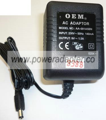 OEM AA-091A5BN AC ADAPTER 9VAC 1.5A ~(~) 2x5.5mm EUROPE POW