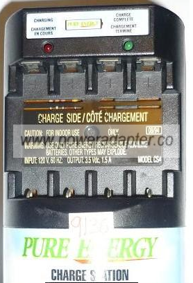 PURE ENERGY CS4 CHARGING STATION USED 3.5VDC 1.5A ALKALINE CLASS