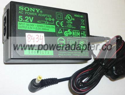SONY HDAC-M1 AC ADAPTER 5.2VDC 2000mA USED -(+) 1.5x4mm ROUND BA