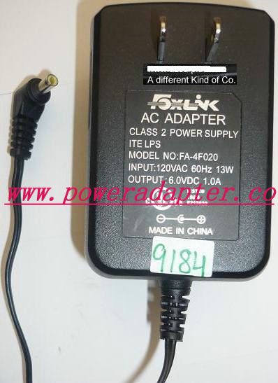 FOXLINK FA-4F020 AC ADAPTER 6VDC 1A USED -( ) 1.5x4x8.4mm 90° RO