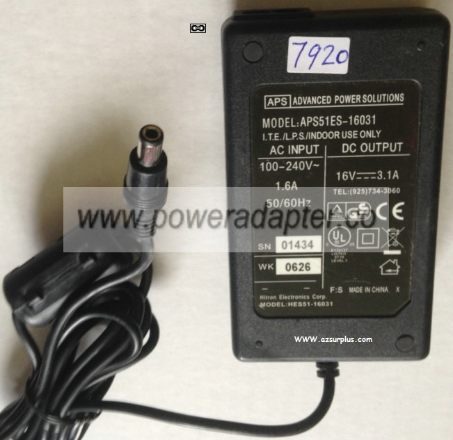 HITRON APS HES51-16031 AC ADAPTER 16V 3.1A POWER SUPPLY
